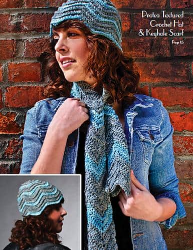 Protea Textured Crochet Hat and Keyhole Scarf