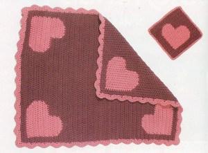 """""""I Love Baby"""" Reversible Intarsia Blanket"""