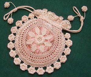 Rings and Roses Irish Crochet Purse