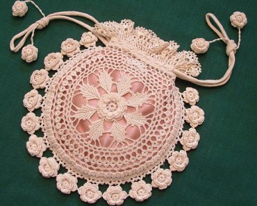 Rings and Roses Irish Crochet Purse