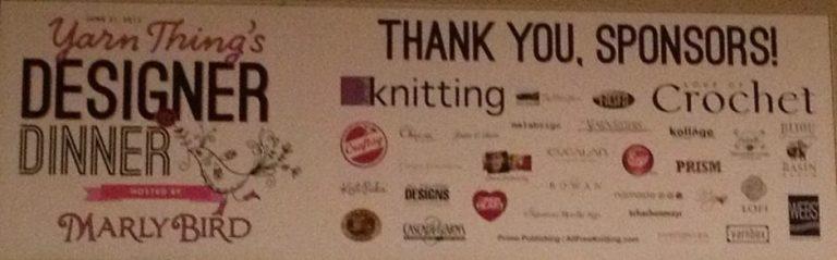 Yarn Thing Designer Dinner Sponsors