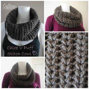 Chloe V Puff Stitch Cowl