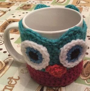 Janus the Owl Coffee Cup Cozy Awake