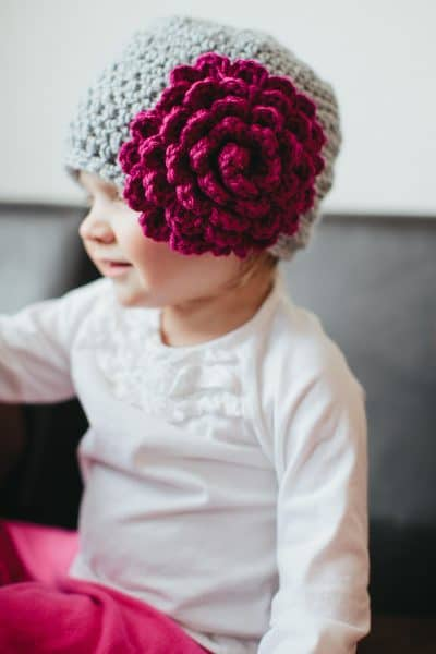 Photo of Textured Beanie with Peony