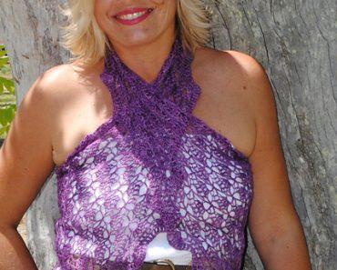 Photo of Islamorada Amethyst Half-Hexagon Crochet Shawl
