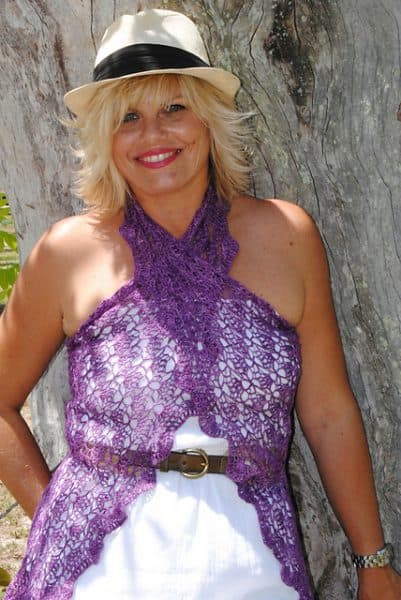 Photo of Islamorada Amethyst Half-Hexagon Crochet Shawl