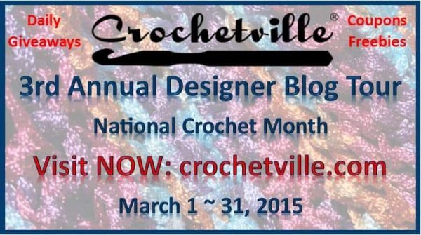 Image promoting the Crochetville NatCroMo Designer Blog Tour