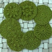 Seven Circular Summertime Scrubbies by Marie Segares