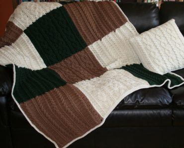 Cabled Big Block Blanket and Throw Pillow   Beth Major