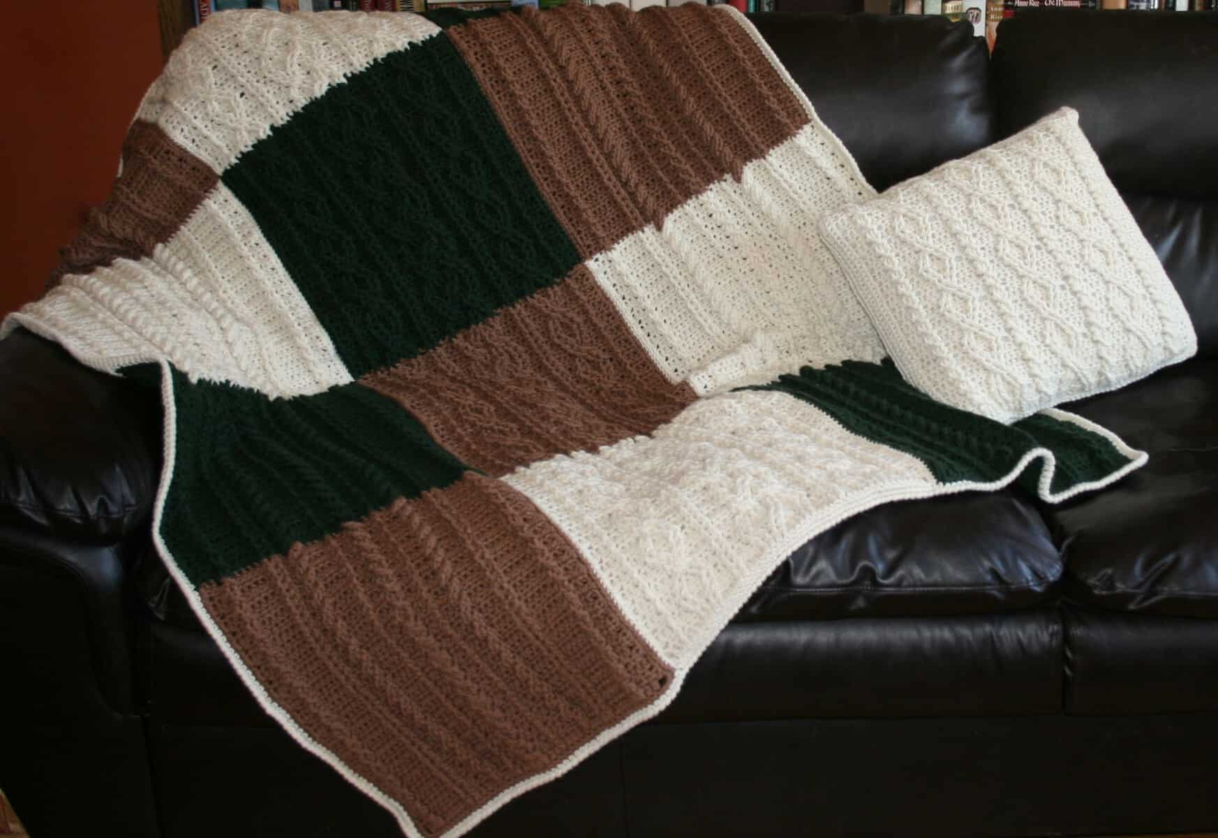 Cabled Big Block Blanket and Throw Pillow | Beth Major
