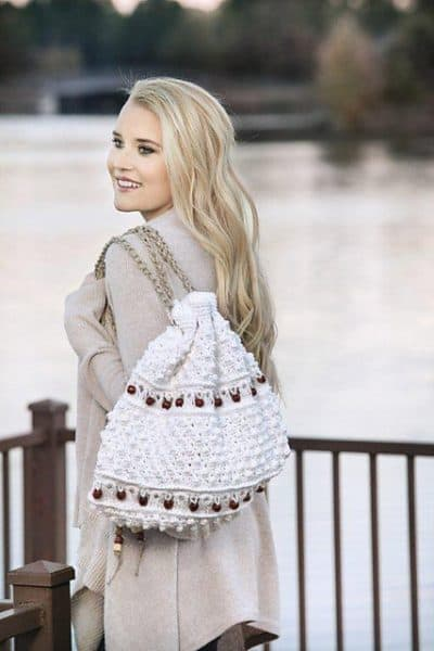 Beaded Broomstick Lace Backpack | Bonnie Barker
