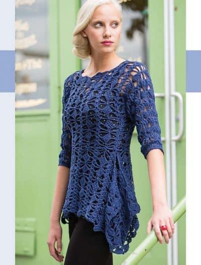 Mary Jane Hall | Tunique Unique Pullover | Colorful Crochet Lace