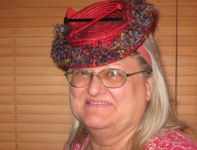 Karen C.K. Ballard wearing WWII Knitting Hat