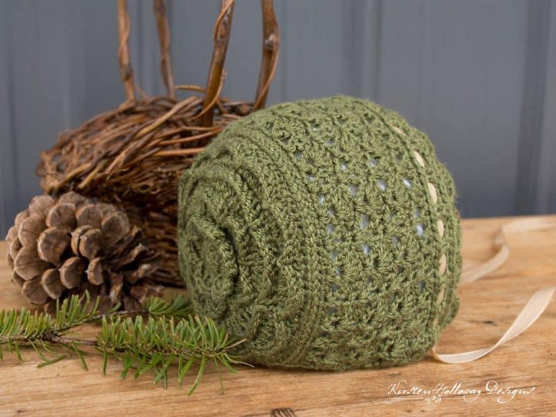 Rosemary Green Baby Bonnet - Crochet - Kirsten Holloway