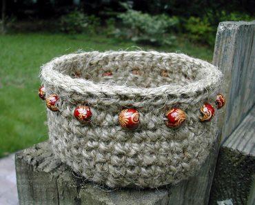 Beaded Jute Basket - Crochet - Donna Hulka