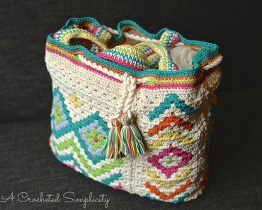 Jennifer Pionk | A Crocheted Simplicity | Boho Chic Mosaic Tote