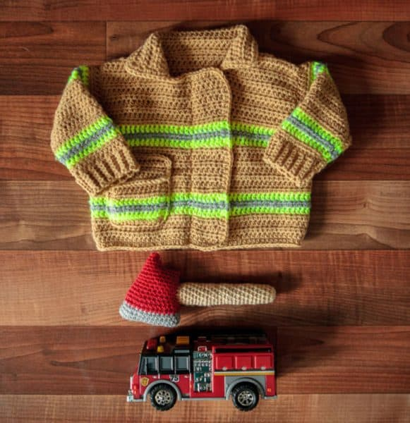 Baby Firefighter Sweater by Lisa Ferrel