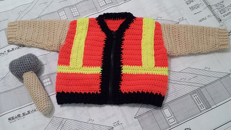 Construction Baby Sweater by Lisa Ferrel