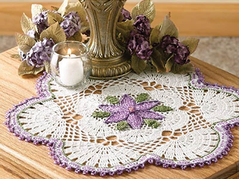 Passionflower Beaded Doily - Crochet - Brenda Stratton