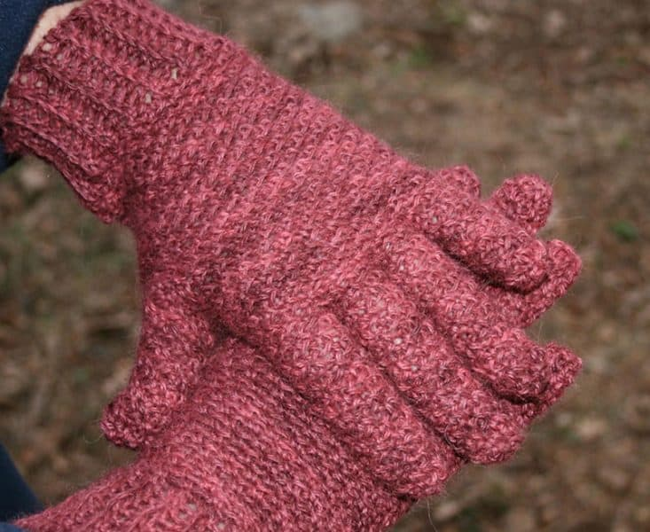 Rice Paper Weave Gloves & Hat Set - Crochet - Linda Dean