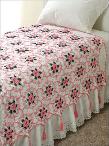 Rose Splendor Throw - Crochet - Brenda Stratton
