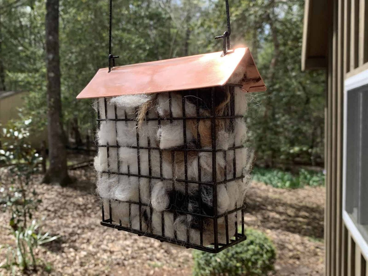 Giveaway: Copper-Roofed Suet Cage Filled with Alpaca Fiber (Nesting Materials)